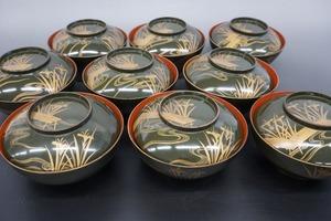 1円~◆おたからや◆sh220 古い漆器 お椀9客 時代物
