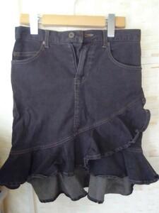 【used】デニムフレアスカート Mサイズ ブラックBLACK黒ジーンズ