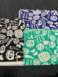 こばやし コットン生地 布 ハギレ 3色セット日本製未使用ハンドメイド手作り用 ニット生地 柄