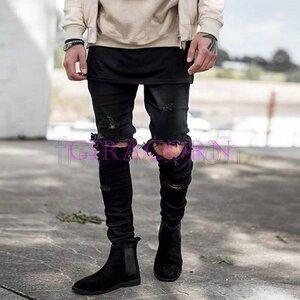 新品個性 デニムジーンズ ダメージ加工 メンズデニムパンツ スキニーデニム ストレートジーパン ジーンズ メンズ ライダースジーンズ