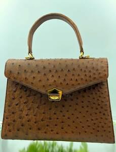 オーストリッチ×クロコダイル ワニ革 2way レザー ハンドバッグ ショルダ-バッグ