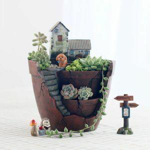 あなた好みのお庭を作って◆植木鉢 寄せ植え 小花 観葉植物 サボテン 多肉植物 インテリア かわいい 階段 小ぶり 石垣 家 プランター DD645