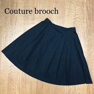 【Couture brooch】クチュールブローチ ワールド フレアスカート ウエストゴム 無地 シンプル ひざ丈 ゆったり レディース size 38 M