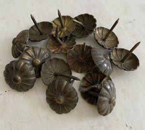 アンティークの画鋲10個セット②☆フランスアンティーク ヴィンテージ パーツ金具素材蚤の市鋏釘
