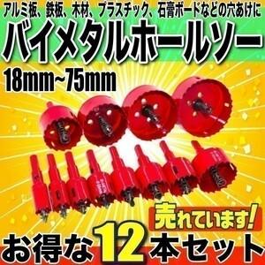 即決 お得な12点セット バイメタルホールソー 直径18~75mm 超硬ホルソー 木工穴開け 工具ドリルビット 鉄工キリ 刃 電動ドリル 穴あけ b