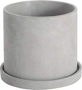 グレー 16.5cm Ekirlin 植木鉢 セメント 鉢 受け皿付き 観葉植物 円筒形鉢 プランター 6号 16.5cm おし