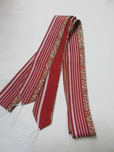 ◇期間限定 創作腰紐 数限定 手作り 羽二重 正絹腰紐 たすき 赤地 巾4cm 長さ 2.1m