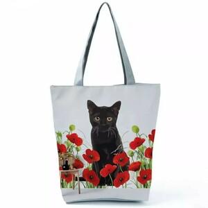 黒猫 お花トートバッグ エコバッグ 手提げ 通勤 通学 布製 大容量 A4サイズ