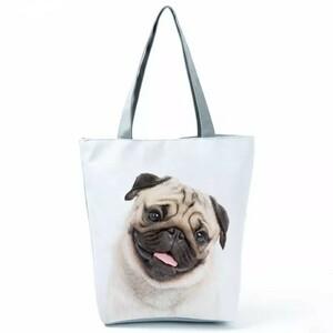 犬トートバッグ エコバッグ 手提げ 通勤 通学 布製 大容量 A4サイズ パグ