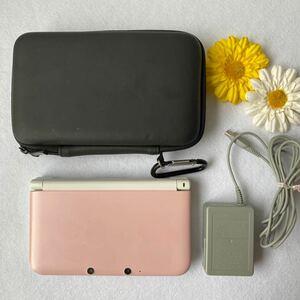 任天堂3DSLL 本体ピンク・ACアダプター(充電器)・カバー3点セット
