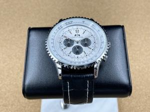3針 機械式 腕時計 PAULAREIS ホワイト文字盤 【自動巻き 47mmケース ノンデイト】【レザー ウォッチ クロノグラフデザイン 回転ベゼル】