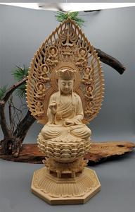木彫仏像 地蔵菩薩 仏教美術 木造地蔵菩薩 蓮華丸台座 総高28cm