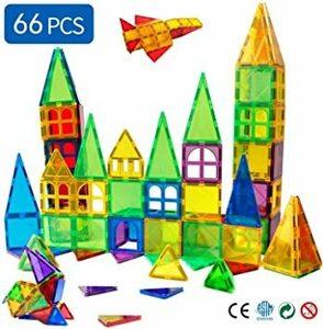 66pcs Magblockマグネットブロック磁石のブロック 幼児 に 人気 の おもちゃ 女の子 男の子おもちゃ 知育玩具 6
