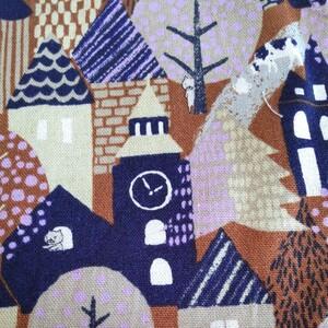 綿麻キャンバス、COTTON こばやし、ハウス、木、猫、108cm幅、35cm