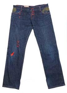 DARK & RED デニム パンツ 赤ステッチ セルビッチ ボタンフライ / ドメスティック ジーンズ ジーパン 和柄