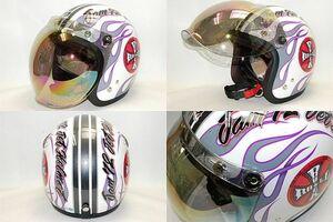 新品即決★72JAMミラーシールド付きROCKROLL ホワイト ヘルメット M