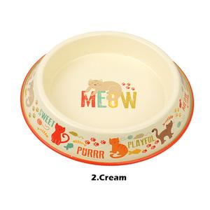 ワン ニャン ペット ボウル (クリーム) Bow Wow Meow Pet Bowl ペット用 食器 犬 猫 食事 エサ皿 餌皿 フードボウル 丈夫 金属 USA