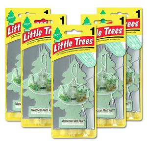 リトルツリー モロッカン ミント ティー 5枚セット Little Trees 芳香剤 車 部屋 吊り下げ USA エアフレッシュナー【メール便 送料無料】