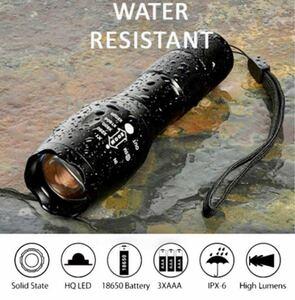 USBケーブル付き☆懐中電灯 led USB充電式 強力 防水 携帯 充電