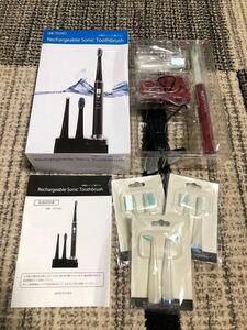 【予備替えブラシ付】美容衛生/充電式/音波歯ブラシ/3種類/ブラシ付属/RST-2062/赤