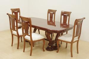 ヨーロピアン マホガニー材 象嵌細工 ダイニングテーブル チェア 7点セット 4人~6人掛け 食卓 椅子 ロココ調 クラシカル エレガント