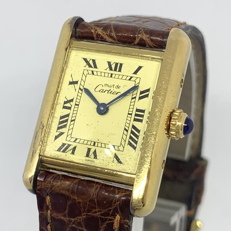 ●最終出品 1円~ カルティエ Cartier マストタンク ヴェルメイユ SV925 アイボリー文字盤 レディース クオーツ 腕時計 CD27850103
