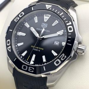 1円~ タグホイヤー Tag Heuer アクアレーサー 黒文字盤 保証書 WAY101A メンズ クオーツ デイト 腕時計 CP48410623