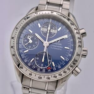 ◎1円~ オメガ omega スピードマスタートリプルカレンダー クロノグラフ 3523.80 メンズ 自動巻き ネイビー文字盤 腕時計 CP318110632