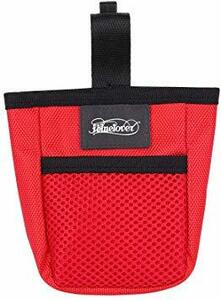 赤い フリーサイズ ペット 訓練バッグ 犬用ポーチ お菓子バッグ ウエストバッグ 餌入れ フック付き お散歩バッグ 多機能 大容