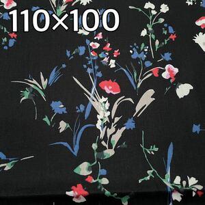 生地 国産 綿100% 黒ベース ボタニカル 花柄