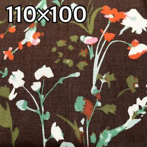 生地 国産 綿100% 茶ベース ボタニカル 花柄