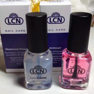 2本セット LCNダイヤモンドパワー&アンティセプト 新品未使用 ベース・トップコート爪保護材&抗菌効果のあるキューティクルオイル
