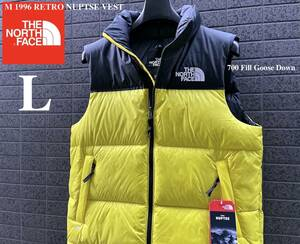 ◆モデル出品◆新品 L ザ・ノースフェイス ヌプシダウンベスト グースダウン700 The North Face M 1996 RETRO NUPTSE VEST 黄色カラー