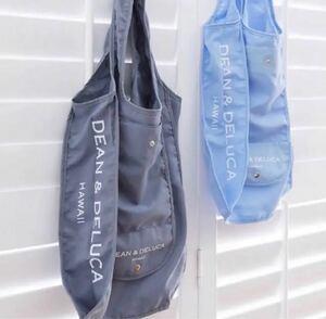 ★ハワイ限定 日本未発売 2色 DEAN&DELUCAエコバッグ2点セット ショッピングバッグ折り畳みエコバッグ ブルーグレー2点