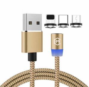 光る多色充電ケーブル マグネット1MiPhone Android対応 ケーブル1本端子3個