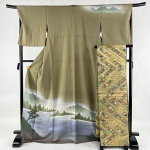 訪問着 美品 秀品 袋帯セット 水辺の風景 樹木 茶緑色 袷 身丈170.5cm 裄丈68.5cm L 正絹 【中古】 ☆☆☆
