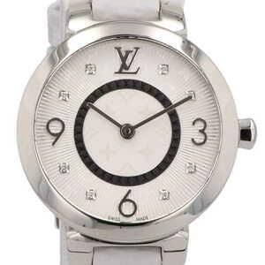 ルイ・ヴィトン Louis Vuitton タンブールスリム 8Pダイヤ Q12MG 腕時計 SS レザー ダイヤモンド クォーツ シルバー レディース 【中古】