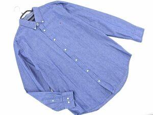 ネコポスOK TOMMY HILFIGER トミーヒルフィガー スリムフィット ボタンダウン シャツ sizeXL/紺 ◇■ ☆ bic4