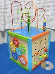木のおもちゃ木製知育玩具キューブ■ルーピング/歯車遊び/動物/数字など知育ボックス ■1.5歳~■アクティビティボックス ■イマジナリウム