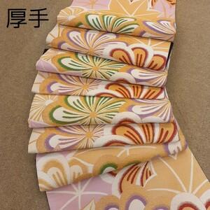 袋帯 西陣織 ピンク色 ゴールド色 花柄 厚手生地 リメイク ハンドメイド