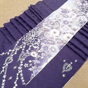 正絹 91701 紫色 花柄 シルク4枚 はぎれ ハギレ リメイク ハンドメイド