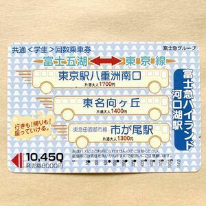 【使用済】 共通〈学生〉回数乗車券 富士急グループ 富士五湖-東京線
