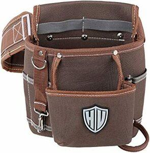 ブラウン HV 2段タイプ腰袋 13x24x26CM ベルト付き 工具バッグ ツールポーチ ウエスト 差し入れ 仕切