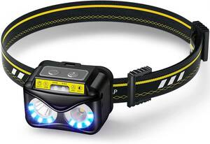 . デュアルライト LEDヘッドライト 高輝度 センサー機 防災 停電用 敬老の日 ヘルメットライト DeliToo 369