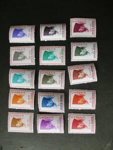 新興国会議ースカルノの横顔 15種完 未使用 1965年 インドネシア共和国 VF/NH 寄付金付き