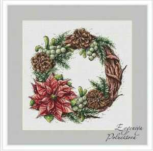 クロスステッチキット ポインセチアと松かさリース 18CT 27×26 刺繍 クリスマス