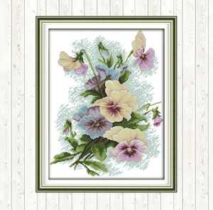 クロスステッチキット 春咲くパンジー 33×41cm 刺繍キット 手芸 花壇