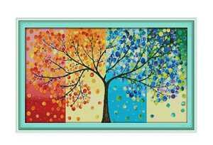 クロスステッチキット 四季の木 春夏秋冬 図案印刷あり 14CT 刺繍