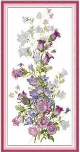 クロスステッチキット 春感じるカンパニュラ 32×63cm 14CT 刺繍 風鈴草 ツリガネソウ 手芸 Spring