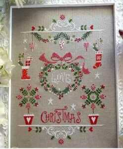 クロスステッチキット アイラブクリスマス 18CT リース 33×45cm 刺繍